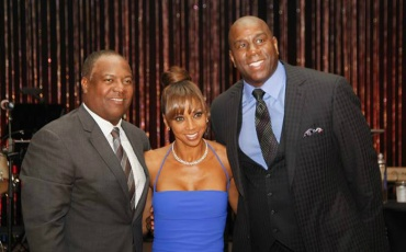 Magic Johnson with Holly Robinson & Rodney Peete